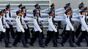 Guard-of-honor contingent marching during NDP 2009 Stock Photos
