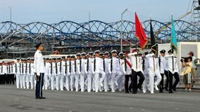 Guard-of-honor contingents marching past Royalty Free Stock Photo