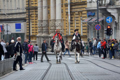 Guard of Honor of the Cravat Regiment popular tourist attraction in Zagreb Stock Photography