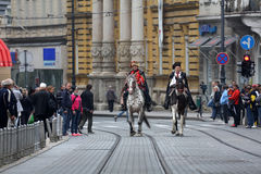 Guard of Honor of the Cravat Regiment popular tourist attraction in Zagreb Stock Images