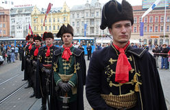 Guard of Honor of the Cravat Regiment popular tourist attraction in Zagreb Royalty Free Stock Images