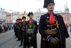 Guard of Honor of the Cravat Regiment popular tourist attraction in Zagreb Royalty Free Stock Photography
