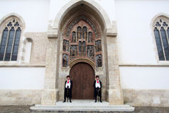 Guard of Honor of the Cravat Regiment on the south portal of the church of St. Mark in Zagreb Royalty Free Stock Images