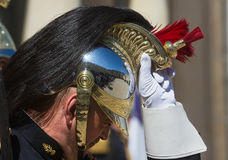 Guard of honor at the Elysee palace. PARIS, FRANCE - Jun 26, 2017: Guard of honor at the Elysee palace residence in Paris during an official visit of the royalty free stock images