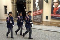 Guard of honor in full dress. Prague, Czech Republic, May 14, 2009. guard of honor in full dress walking down the street, Prague, Czech Republic Royalty Free Stock Photos