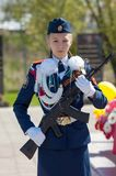 Guard of honor. Girl with AK-47 Royalty Free Stock Photo