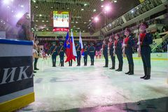 The guard of honor before the hockey game Royalty Free Stock Image