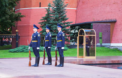 Guard of honor at the Kremlin wall in Moscow, Russia Royalty Free Stock Images