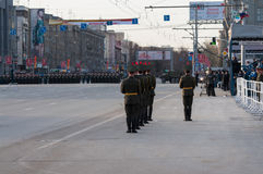 A guard of honor at a military parade Stock Images