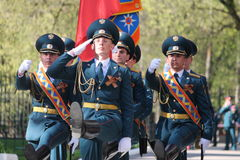 The guard of honor of the Ministry of Emergency Situations of Russia. With flag royalty free stock image