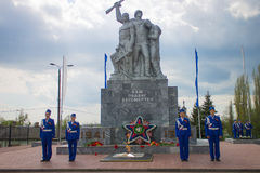 Guard of honor at a monument to the died Soviet soldiers. Royalty Free Stock Photo