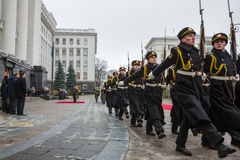 Guard of honor near the Presidential Administration of Ukraine Stock Photography