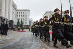 Guard of honor near the Presidential Administration of Ukraine. KIEV, UKRAINE - Dec 11, 2015: Guard of honor. President of Ukraine Petro Poroshenko and the Stock Photography
