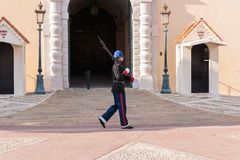 Guard of honor at residence of Prince of Monaco. Royalty Free Stock Image