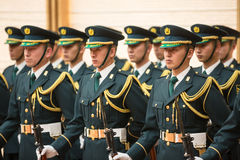 Guard of honor in Tokio. TOKYO, JAPAN - Apr 06, 2016: A guard of honor during a meeting of the President of Ukraine Petro Poroshenko and Prime Minister of Japan Royalty Free Stock Photo
