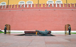 A guard of honor at the Tomb of the Unknown Soldier near the Kremlin wall. Stock Image