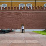 Guard of honour. In Alexandrovsky garden at the Tomb of Unknown Soldier. Moscow, Russia Royalty Free Stock Images