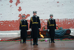 Guard of honour change. Three soldiers. Royalty Free Stock Image