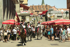 Guard of honour. Historical guard of honour on the horses riding in downtown Zagreb, Croatian capital Stock Images