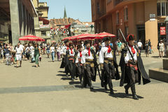 Guard of honour at the main square in Zagreb, Croatia. Marching. They have historical uniforms and are on of the main attraction at in Zagreb Royalty Free Stock Photo