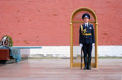 The guard of honour, Moscow at the tomb of the Unk. MOSCOW - APRIL 23: Guard of Honour at the tomb of the Unknown Soldier at the wall of Moscow Kremlin on April Royalty Free Stock Photography