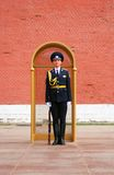 The guard of honour, Moscow at the tomb of the Unk. MOSCOW - APRIL 23: Guard of Honour at the tomb of the Unknown Soldier at the wall of Moscow Kremlin on April Stock Photo