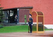 The guard of honour, Moscow at the tomb of the Unk. MOSCOW - APRIL 23: Guard of Honour at the tomb of the Unknown Soldier at the wall of Moscow Kremlin on April Royalty Free Stock Image