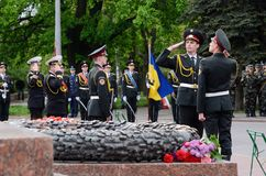 Guard of honour standing near Eternal Flame during celebrating Victory Day,Odessa,Ukraine Royalty Free Stock Image