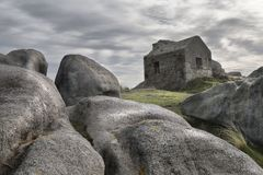 Guard house 4. Old guard house on a stormy day near the Atlantic ocean. High density range image Royalty Free Stock Photos