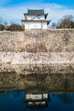 Guard House. The Osaka Castle guard house at the edge of the complex wall, reflected on the moat Royalty Free Stock Images