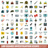 100 guard investigation icons set, flat style Stock Photos