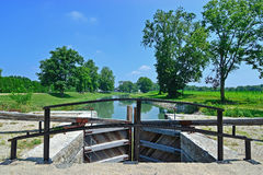 Guard lock on the Erie Canal. And the Wabash river in Delphi, Indiana stock photos