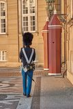 Guard marching in front of castle amalienborg. Traditional guard marching in front of castle amalienborg Royalty Free Stock Photo