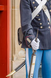 Guard. A military guard standing in front of the Amalienborg Palace in Copenhaguen royalty free stock photography
