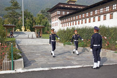 Guard mounting at the Trashi Chhoe Dzong, Thimphu, Bhutan Stock Photo