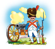 Guard Napoleon France bear hat sword gun Stock Image