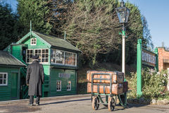 Guard and old signal box on The Great Central Railway Stock Photography