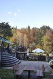 Guard Pavilion terrace of Peles Castle Domain from Sinaia in Romania Stock Photo