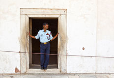 Guard pays attention at hall of Private Audience or Diwan I Khas Stock Photo