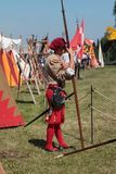 Guard with Pole Weapon during Medieval Event Fair Royalty Free Stock Photos