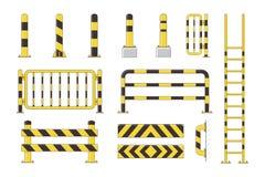 Guard post sentry yellow and black collection, icon flat column bollard set vector illustration. Guard post sentry yellow and black collection, icon flat column Stock Photos