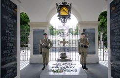 Guard post at Tomb of the Unknown Soldier and Honor Guard with eternal flame, since 1925.Part of Saxon Palace at Pilsudski,Poland Royalty Free Stock Image