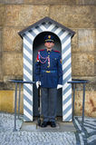 Guard of Prague Castle. PRAGUE CASTLE, PRAGUE, CZECH REPUBLIC / CZECHIA - NOVEMBER 1, 2016: Guard in ceremonial uniform. Popular touristic attraction royalty free stock image