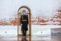 Guard of the Presidential regiment of Russia near Tomb of Unknown soldier and Eternal flame in Alexander garden near Kremlin wall. Royalty Free Stock Photo