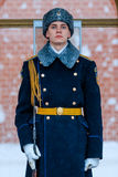 Guard of the Presidential regiment of Russia near Tomb of Unknown soldier and Eternal flame in Alexander garden near Kremlin wall. Stock Photography