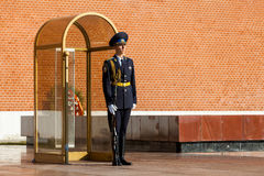 Guard of the Presidential regiment of Russia near Tomb of Unknown soldier. MOSCOW, RUSSIA - SEPTEMBER 02, 2016: Guard of the Presidential regiment of Russia near Royalty Free Stock Images