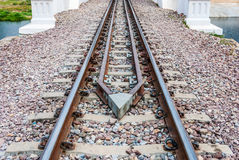 Guard Rail of Railway Track on Concrete Bridge.  royalty free stock image