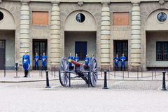 Guard at the Royal Palace in Stockholm Royalty Free Stock Photography