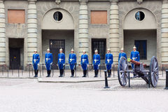 Guard at the Royal Palace in Stockholm royalty free stock image