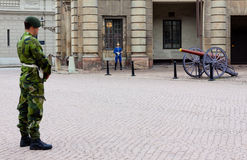 Guard at the Royal Palace in Stockholm Stock Photos